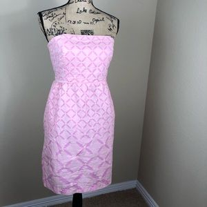 J. Crew Pink Cotton Strapless Dress 10